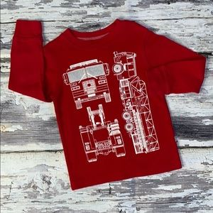 Long Sleeve Carter's Fire Truck Graphic T Sz 3T